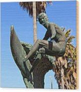 Huntington Beach Surfer Statue Wood Print
