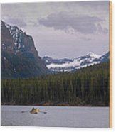 Hyalite Lake Rower Wood Print