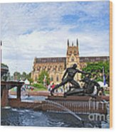 Hyde Park Fountain And St. Mary's Cathedral Wood Print
