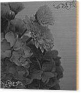 Hydrangea Boquet Black And White Wood Print