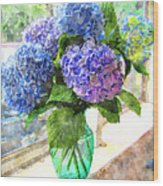 Hydrangeas In The Sun Wood Print