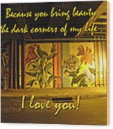 I Love You Night Graffiti Greeting Card Wood Print
