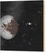 Iapetus And Saturn Wood Print