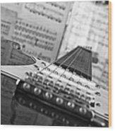 Ibanez Six String Black And White Wood Print