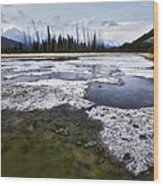 Ice And Water Vermilion Lakes Wood Print