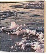 Ice At Sunset Wood Print