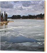 Ice On The Yellowstone River Wood Print