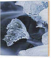 Ice Patches In Stream, Bavarian Forest Wood Print