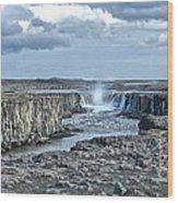 Iceland Waterfall Selfoss 04 Wood Print