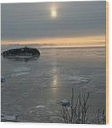 Icey Shore Black Beach Wood Print