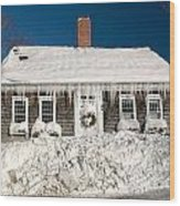 Icicles Hang From The Roof Of This Home In Barnstable On Cape Co Wood Print