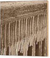 Icy Rail Wood Print