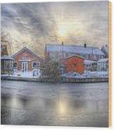 Icy River Panorama Wood Print
