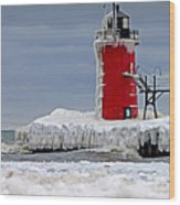 Icy South Haven Mi Lighthouse Wood Print