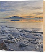 Icy Sunset On Utah Lake Wood Print
