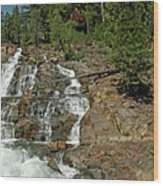 Icy Water Falls Glen Alpine Falls Wood Print