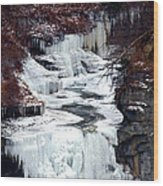 Icy Waterfalls Wood Print