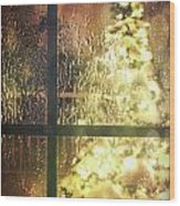 Icy Window With Holiday Tree Full Of Lights Wood Print by Sandra Cunningham