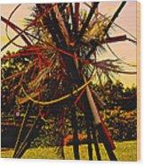 Ikebana Sunset Wood Print
