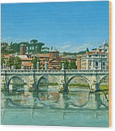 Il Fiumi Tevere Roma Wood Print