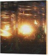 Illuminated Mason Jars Wood Print