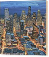 Illuminated Of Downtown Seattle Wood Print