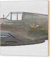 Illustration Of A Curtiss P40-c Warhawk Wood Print