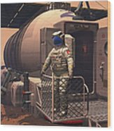 Illustration Of An Astronaut Leaving Wood Print by Walter Myers
