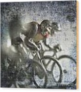 Illustration Of Cyclists Wood Print