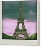 Illustration Of Eiffel Tower Wood Print by Bernard Jaubert