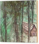 Imaginary Cabin Wood Print
