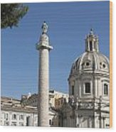 Imperial Fora With The Trajan's Column And The Church Santissimo Nome Di Maria.  Rome Wood Print by Bernard Jaubert