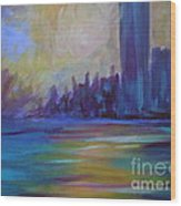 Impressionism-city And Sea Wood Print by Soho