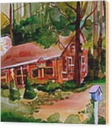 In A Cottage In The Woods Wood Print