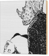 In Rhinos Arms Wood Print by Karl Addison