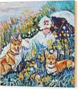 In The Field With Corgis After Monet Wood Print