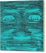 In Your Face In Neagtive Turquois Wood Print