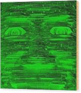 In Your Face In Negative Green Wood Print