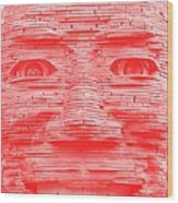 In Your Face In Negative Light Red Wood Print