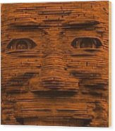 In Your Face In Orange Wood Print