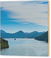 Incoming Ferry Through A Fjord  Wood Print