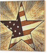 Independence Day Stary American Flag Wood Print