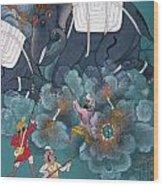 India: Elephant Fight Wood Print