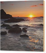 Indian Beach Sundown Wood Print