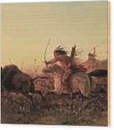 Indian Buffalo Hunt Wood Print