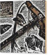 Indian Buffalo Jawbone Tomahawk Wood Print