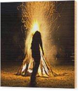 Indian Ceremonial Bonfire Wood Print