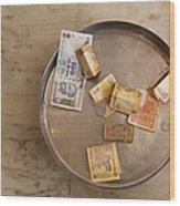 Indian Money In A Dish Wood Print