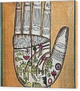 Indian Palmistry Map Wood Print by Victor De Schwanberg