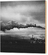 Industrial Eruption Wood Print by Ilker Goksen